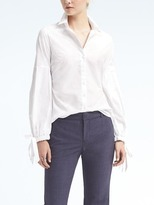 Banana Republic Riley-Fit White Pleated Bell-Sleeve Shirt