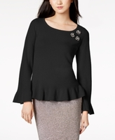 Charter Club Petite Cashmere Embellished Peplum Sweater, Created for Macy's