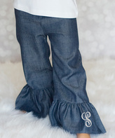 Princess Linens Denim Ruffle Initial Pants - Infant, Toddler & Girls