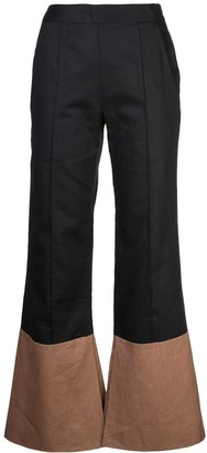 ARIAS Two-Tone Flared Trousers
