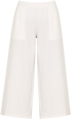 Eileen Fisher White Cropped Stretch-jersey Trousers