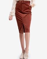 Express En Saison Corduroy Belted Pencil Skirt