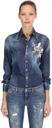 DSQUARED2 Mirror Embellished Cotton Denim Shirt