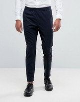 Selected Homme Cropped Tapered Trouser With Elasticated Waist In Check