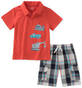 Kids Headquarters Red Vehicles Polo & Plaid Shorts - Infant