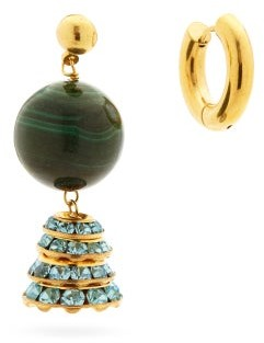 Timeless Pearly Mismatched Malachite & 24kt Gold-plated Earrings - Green Gold