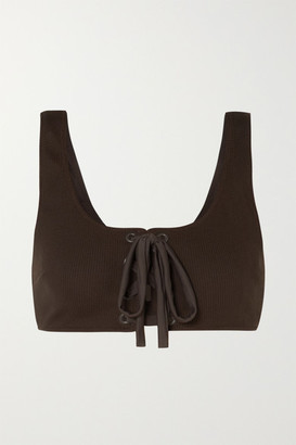 Ganni Lace-up Ribbed Bikini Top - Dark brown