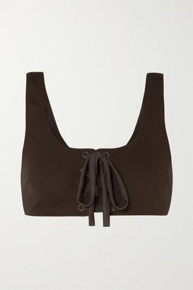 Ganni Lace-up Ribbed Bikini Top - Dark brown