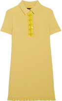 Moschino Crystal-embellished Appliquéd Crepe Mini Dress - Yellow