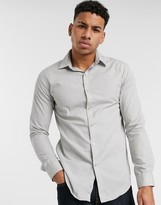 Le Breve poplin shirt in muscle fit in grey