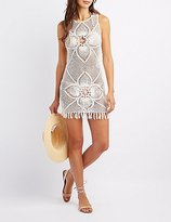 Charlotte Russe Fringe-Hem Macrame Shift Dress