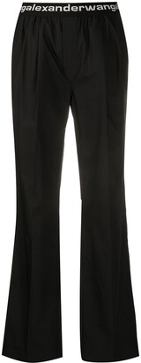 T By Alexander Wang Logo Waistband Wide-Leg Trousers