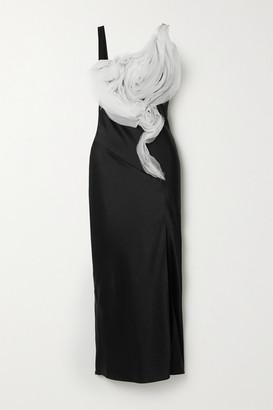 Jason Wu Collection Ruffled Organza-trimmed Satin-crepe Midi Dress - Black
