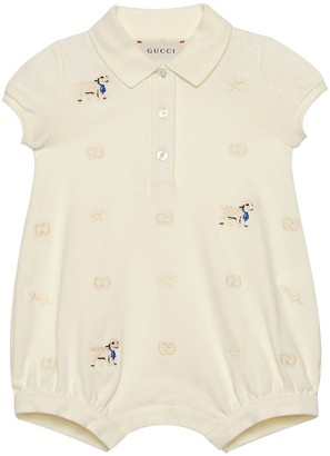 Gucci Baby cotton one-piece with lamb embroidery