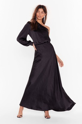 Nasty Gal Womens Party at the Back Satin Maxi Dress - black - 6