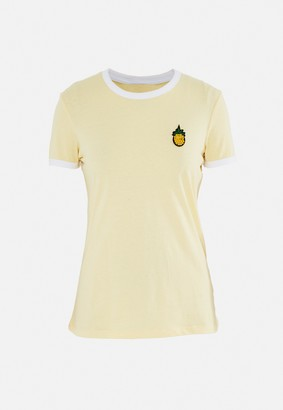 Missguided Yellow Pineapple Embroidery Graphic T Shirt