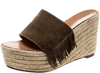Chloé Brown Suede Fringe Detail Wedge Espadrille Sandals Size 39
