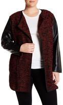 Live A Little Faux Leather Boucle Knit Jacket (Plus Size)