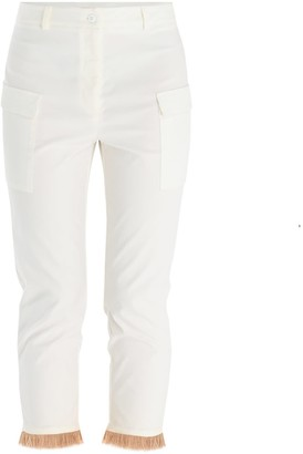 Paisie Trousers With Patch Pocket & Fringe Hem In White & Tan