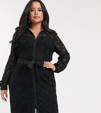 Paper Dolls Plus shirt dress in geo floral lace in black