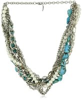 Yochi Design Yochi Agate Colored, Simulated Pearl and Chain Braided Necklace
