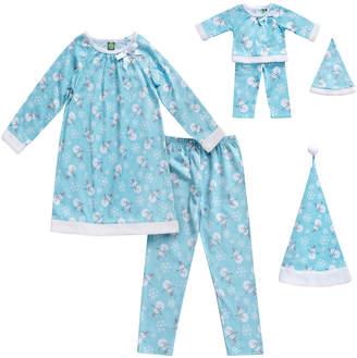 Dollie & Me Girls' Winter Hats BLUE - Blue Snowman Pajama Set & Doll Pajama Set - Girls