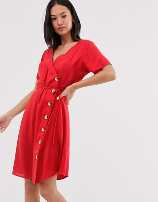 Blend She wrap midi dress-Red