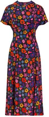 Tomcsanyi Dandar Open Back Tie Dress Doodle Flower
