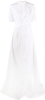 Oscar de la Renta Twisted-Waist Maxi Shirtdress