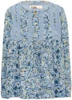 M&Co Floral print crochet yoke smock top