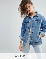 Asos Denim Girlfriend Jacket in Astrid Mid Stonewash Blue