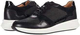 Clarks Un Rio Run (Black Nubuck/Leather/Suede Combination) Women's Shoes