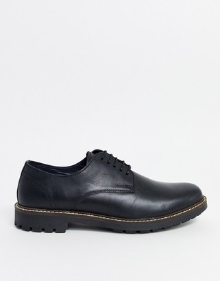 Red Tape wax leather lace up shoe in black