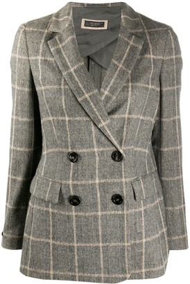 Peserico Double-Breasted Check Blazer