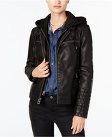 Lucky Brand Hooded Faux-Leather Moto Jacket