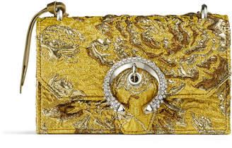 Jimmy Choo PARIS Gold Brocade Fabric Mini Bag with Crystal Buckle