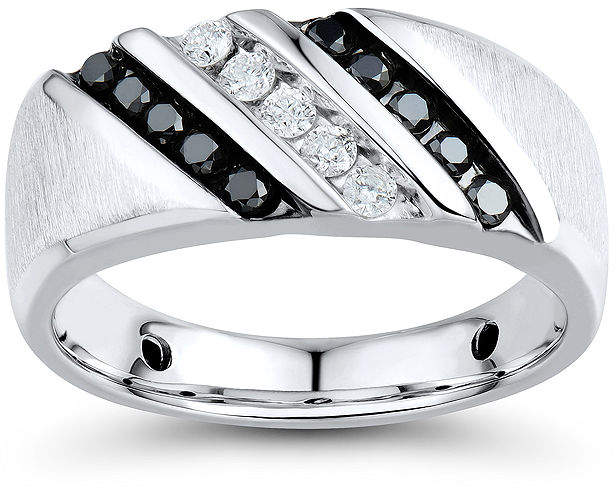 Black Diamond FINE JEWELRY Mens 1/2 CT. T.W. White and Color-Enhanced Sterling Silver Comfort Fit Ring