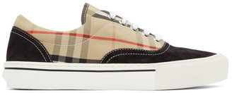 Burberry Black and Beige Vintage Check Skate Sneakers