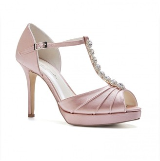Linzi Paradox London Cindy Blush High Heel T-Bar Platform Sandals