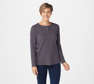 Denim & Co. Essentials Long Sleeve Button Henley Waffle Knit Top