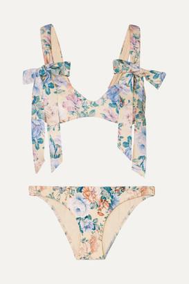 Zimmermann Verity Bow Floral-print Bikini - Blue