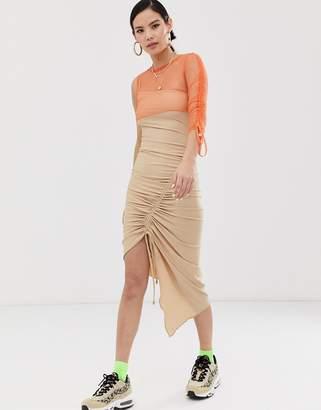 Zya ZYA ruched midi dress with asymmetric mesh layered top-Beige