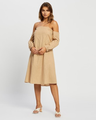 Reverse Women's Neutrals Midi Dresses - Off Shoulder Midi Dress - Size XS at The Iconic