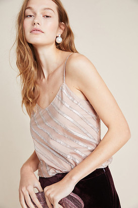 Bea Yuk Mui Striped Shimmer Cami By Current Air in Pink Size L