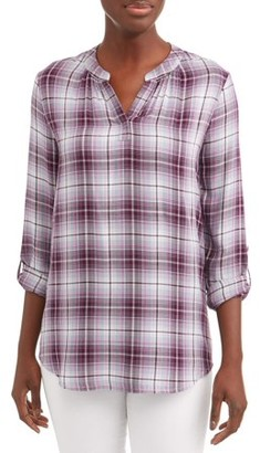 Time and Tru Women's Popover Tunic Plaid Top