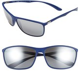 Ray-Ban Men's 'Tech Liteforce' 65Mm Square Sunglasses - Matte Blue/ Grey Mirror