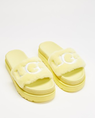 UGG Women's Yellow Slides - Laton Fur Slides - Size 6 at The Iconic