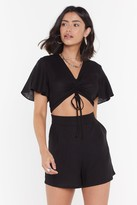 Nasty Gal Womens No Cut-Out in My Mind Linen Playsuit - black - S, Black