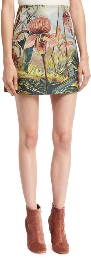 ADAM by Adam Lippes Jungle-Print Mini Skirt, Multi