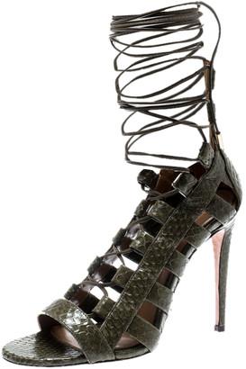 Aquazzura Khaki Green Python Leather Amazon Lace Up Open Toe Sandals Size 35